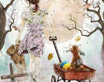 Whimsical Art - Zombie - Zombie Apocalypse - Zombie Art - The Walking Dead - Cute Zombie - Zombie Love - Zombie Wedding - Girl Zombie - Art