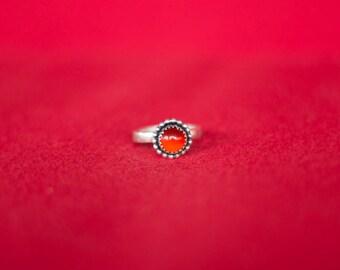 Sterling silver SUN ring - Carnelian
