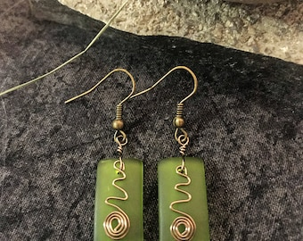 Green Rectangle Sea Glass Earrings, Bronze Wire Dangle, Hook Earrings