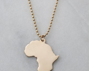 XL 14k Solid Gold Africa Pendant