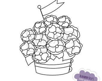 Digital Stamp - Basket with flowers