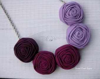 Fabric Necklace, Bib Necklace, Statement Necklace, Rosette Necklace, Fabric Jewelry, Handmade Jewelry, Gifts for Women, Ombré Necklace