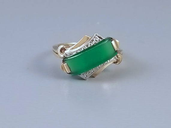 Vintage Art Deco asymmetrical green chrysoprase 14k two tone yellow and white gold ring, size 6-1/4  signed House of Kraus