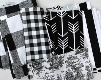 Black White Fabric Scraps Bundle - Buffalo Check, Plaid, Arrow, Canopy Stripes, Jamestown Toile,  Premier Prints Home Decor REMNANTS