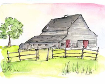 Heritage Farm, Watercolour and Ink PRINT