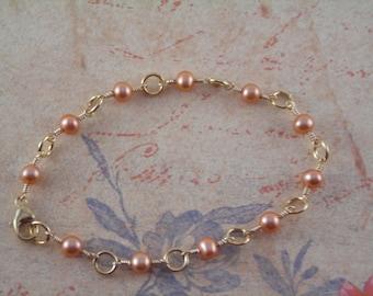 Champagne Freshwater Pearl Wire-Wrap Bridal Bracelet