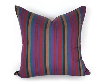 Bohemian Cushions, Boho Pillows, Purple Pillow, Striped Pillow Covers, Teal Blue Red Stripes, Accent Pillows, Boho Chic Decor, 20x20