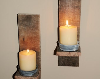 Rustic Wood Candle Holder /Sconces. Reclaimed Wood Sconce