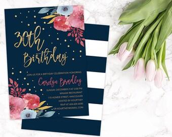 30th Birthday Party Invitation, 30th Birthday Invitation, 30th Birthday Card, 30th Birthday for Her, 40th Birthday Invitation, 50th Birthday