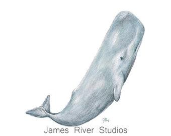 Whale Art Whale Print Whale Painting Whale Wall Art Whale Decor Whale Watercolor Blue Whale Wall Decor Ocean Art Sea Art Coastal Art Print.