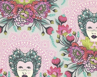 Elizabeth Fabric by Tula Pink Circus Mardi Gras Cameo Beautiful Face with Floral Flowers on Tart Pink 16th Century Selfie