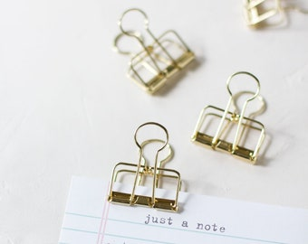 Gold Large Metal Wire Binder Clips - 3 pc