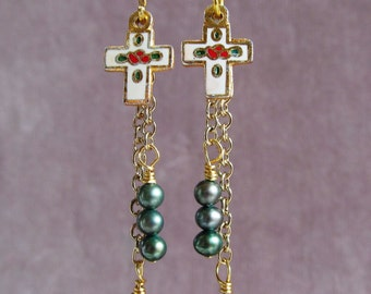 Cloisonne Crosses with Ivy Colored Freshwater Pearl Cascade Dangle Earrings