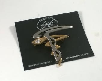 Vintage FAF Design Pewter Brooch - Gold and Pewter with Rhinestones  - 1990s, Canada