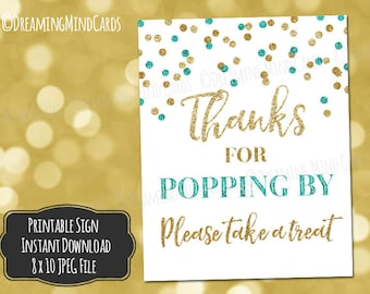 Printable Thanks for Popping By Popcorn Bar Sign 8x10 Teal Blue Gold Glitter Confetti Baby Shower Digital Download