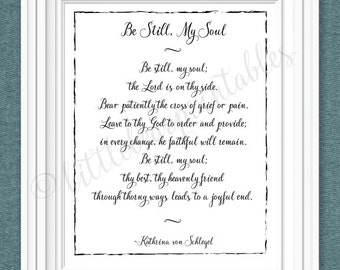 Be still my soul hymn lyrics, wall art printable hymn, the Lord is on our side, Christian print, black and white, instant download