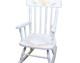 Personalized Childs White Rocking Chair Blush & Gold Girls Soft Pastel Blush Pink Nursery Room Custom Kids Rocker Floral Wreath SPIN-whi-319
