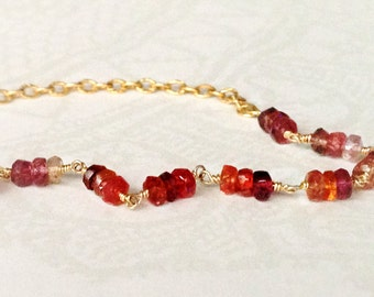 Red Spinel Bracelet - Valentine's Gift Jewelry - 14K Gold Filled Jewellery - Gemstone - Chain - Beaded