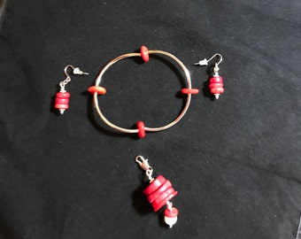 Red Coral Bracelet, Earrings and Pendant Set