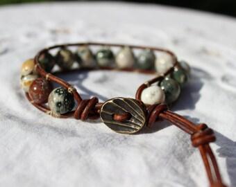 Ocean Jasper Wrap Bracelet, Leather Wrap Bracelet, Hippie Bracelet, Boho Bracelet, Bohemian Bracelet