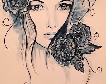 Watercolor Portrait | Watercolor Painting | Floral Watercolor Accent | Floral Watercolor | Watercolor | Painting |