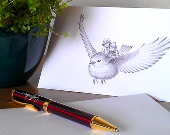 Greeting Card - Fantasy Illustration - Bird