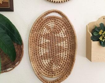 Vintage Woven Straw Two Tone Neutral Basket Tray : Bohemian Home Decor