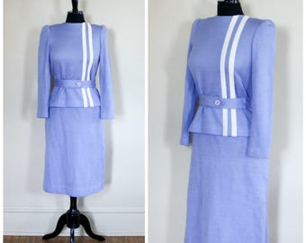 Vintage Lavender Purple Knit Leslie Fay Petites Set Top And Skirt Stripe Belted
