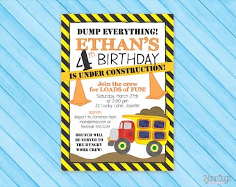 Construction Invitation - Dump Truck Birthday Party Invite - Boy Birthday Party Invitation - PERSONALIZED, PRINTABLE