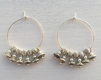 Earings, creole, gold filled rings,