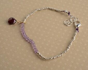 Chakra Bracelet, January Birthstone Bracelet, February Birthstone Bracelet, Healing Gemstone Jewelry, Hill Tribe Silver Beaded Bracelet