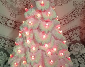 "17"" Lighted Sierra Spruce Ceramic Christmas Tree - Pink Flocked - Vintage Style"