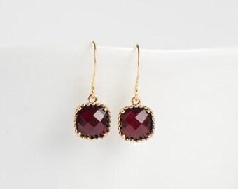 January Garnet Birthstone Gold Earrings, Garnet Gold Square Earrings, January Garnet Earrings, January Birthstone Jewelry, Gold Earrings