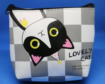 Cute Checkered Board Cat Coin Purse