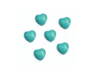 Turquoise Heart Beads ,  18MM   Gemstone Beads , Turquoise Puff Heart Pendant Beads , 6 Pcs