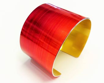 Warm Red and Gold 40 mm Anodised Aluminium Cuff