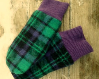 Recycled Green Plaid Wool and  Black  Leather  Mittens  S/M