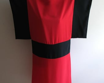 Vintage Ronnie Heller for MJ Color Block Dress Red and Black