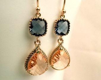 Peach Earrings,Navy Earrings, Sapphire Earrings, Bridesmaid Gifts, Wedding Jewelry,Bridesmaid Jewelry, Silver earrings, Drop Earrings
