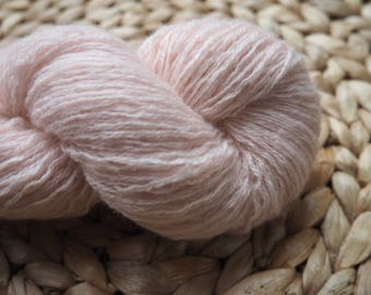 Reclaimed 100% Cashmere Yarn in Fingering Weight, light pink, various lengths