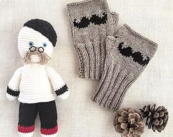Moustache Glove / Hand Knitting Fingerless Gloves Mittens Arm Warmers Harvest Beige . Autumn trend. knit hand warmers, knitted boho gloves