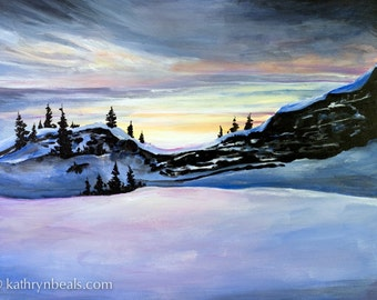 Winter Sunset in Yosemite, Landscape Painting - Photo Print