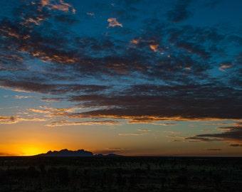 Print of sunrise over Kata Tjuta in Australia, Wall Art, Photography