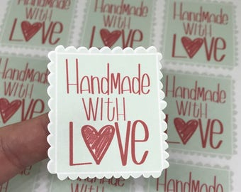 Handmade With Love Stickers - Fun Maker Stickers - Package Stickers - Shipping Stickers - Small Business Stickers   Holiday Stickers