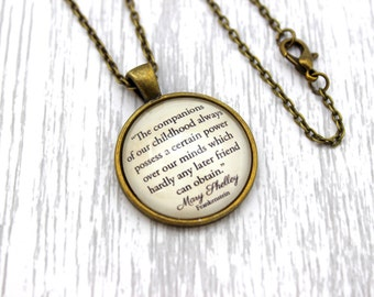 Mary Shelley, 'The Companions Of Our Childhood', Frankenstein Quote Necklace or Keychain, Keyring.