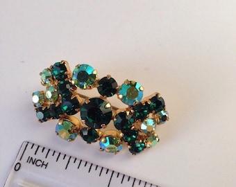 Green Crystal Vintage Brooch Pin Mid Century Costume Jewellery