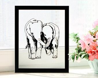 Wedding Anniversary, Anniversary Gift, Wedding Present, Elephant Art, Elephant Gifts, Anniversary for Him, Anniversary for Husband, Wall Art