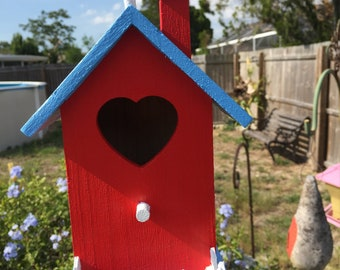 Wooden Birdhouse With Heart Shaped Hole