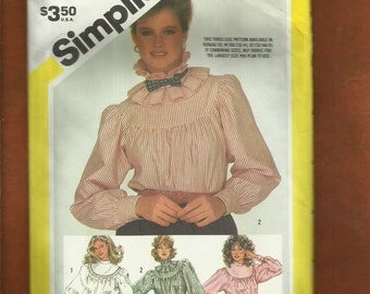 1980's Simplicity 6084 High Collar Round Yoke Blouses with That Western Flare  Size 6..8..10 UNCUT