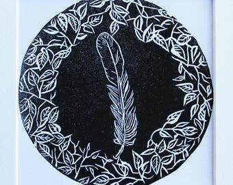 Feather Ivy Wreath linocut linoprint printmaking handmade affordable art monochrome leaves wildlife foliage nature drawing illustration ink
